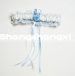 Wholesale New Arrivals Bridal Accessories Bridal Garters Sweet White And Blue Flower Lace Wedding Garters Handmade Brand New Bridal Garters