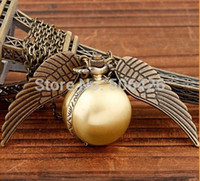 coupons - Coupon of price good quality fashion woman lady silver wing Harry Potter gold golden snitch pocket watch necklace hour