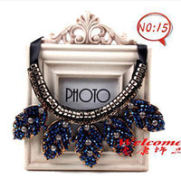 Wholesale 2014 hot gold plated or silver plated luxury gemstone statement Flower diamond exaggerated fashion women collar necklace crystal accessories