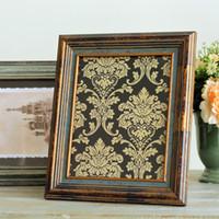 Cheap Fashion 10 wood photo frame vintage retro wool finishing photo frame picture frame home decoration