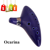 Wholesale 12 Holes Ocarina Ceramic Alto C Vessel Flute Wind Musical Instrument Ocarina Flute Top Quality I442