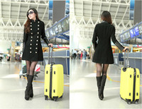 leather trench coat - Top Quality winter women s Double Breasted woolen coat Stand Collar PU Leather Patchwork wool Trench Coat Long overcoat G0695