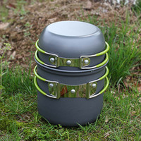 anodised aluminum - New Outdoor Portable Cookware Cooking Set Anodised Aluminum Non stick Pot Bowl Camping Picnic Hiking Utensils H12151