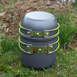 Wholesale New Outdoor Portable Cookware Cooking Set Anodised Aluminum Non stick Pot Bowl Camping Picnic Hiking Utensils H12151