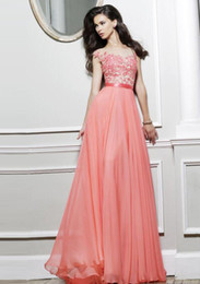 Wholesale Pretty A Line Bateau Cap Sleeve Appliqued Zipper Back Floor Length Prom Dresses Hot Sale Cheap
