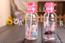 Wholesale 2014 High Quality drinkware Frozen Children Cup Cartoon Frozen Elsa Anna PP Texture Suction Cup with drinking straw water bottle120 H401