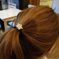 Wholesale Cheap Delicate and Lovely Heart shaped Diamond Star Hair Accessories Hair Ring Hair Rope Color