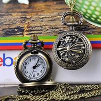 Wholesale New Arrival Dragonfly Hollow Vine Style Bronze Steampunk Quartz Necklace Pendant Chain Clock Pocket Watch