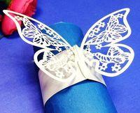 Cheap 120pcs lot Butterfly Shape Paper Napkin Ring Party Banquet Napkin Holder Wedding Feast Table Serviette Decoration wc309