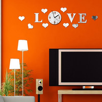 mirror - DIY Mirror Effect Wall Sticke Set LOVE Decal with Clock Decoration Silver Home Decoration Adesivo De Parede Stickers H12357