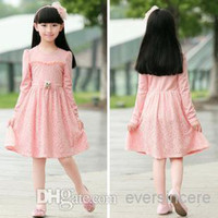 Wholesale High Quality Girls Beautiful Lace Dresses Kids Cotton Dress Lace Skirts Children s Clothing Baby Girl Winter Dress Pink in Stoc