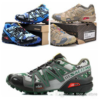 Wholesale Fast delivery Salomon Running Shoes Speedcross CS Cool Style Camouflage Colors Sturdy Outsole Hiking Shoes Blue Beige Green Size