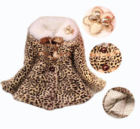 Wholesale 4pcs Girls Fluffy Leopard Winter Outer Garment With Ribbon Brooch Flower Children Fur Collar Jacket Overcoat cg203