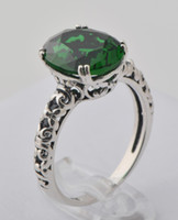 Wholesale Mixed style emerald ring female sterling silver eternal love noble wedding ring heart bright emerald jade engagement rings