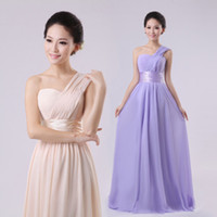 Wholesale One shoulder toast the bride bride dress Performance of inclined shoulder sister long evening dress