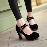 Wholesale Women pumps shoes gladiator style sexy shallow mouth office high heeled shoes thick heel single shoes plus size