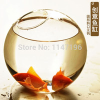 glass fish bowl - Mini circle goldfish bowl glass fish tank turtle tank transparent eco tank aquarium vase