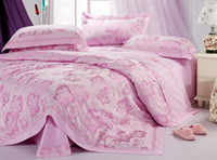 Wholesale Authentic French day European wedding satin jacquard cotton bedding a family of four fragrant lily Pink