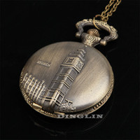 Wholesale Mens Womens Boys Classic Antique Retro London Big Ben Carved Pocket Watch Round Pendent Charming Necklace