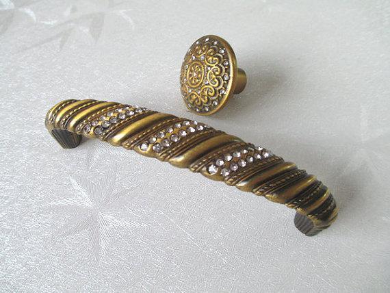 drawer pulls handle antique brass crystal glass dresser pull handles kitchen cabinet pulls knobs decorative - Decorative Drawer Pulls