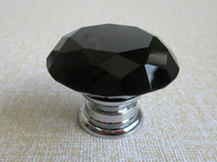 Wholesale Black Glass Knobs Dresser Knobs Drawer Knobs Pulls Handles Diamond Crystal Kitchen Cabinet Knob Pull Handle Hardware