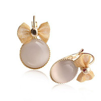 Wholesale 2014 New Opal Inlaid Bowknot Shape Ear Stud Fashion Women Jewelry Earrings