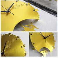 Wholesale Romantic Round Graduated Mute Wall Clock with Pendulum Artistic Home Decoration Clock SM011