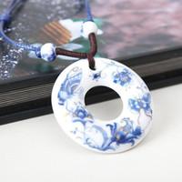 Wholesale Special Jingdezhen porcelain ceramic jewelry necklace pendant hand knit sweater chain necklace women
