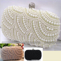 Wholesale 2015 Two Chains Women Pearl Evening Bag Clutch Gorgeous Bridal Wedding Party Bag Party Hard Box