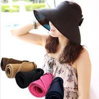 Wholesale 2014 New Women Wide Large Brim Floppy Fold Summer Beach Sun Straw Hat Cap