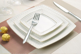 Wholesale 2014 New Porcelain Plate with Golden Line Relief Ceramics Salad Fruit Cake Dish Plate Dinnerware Tableware