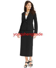 Custom Made Women Suit Single Button Notched Collar Jacket & Straight-Fit Skirt Both Are Full Lined Black 746