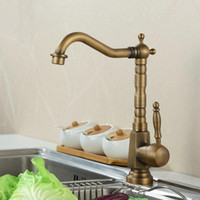 Wholesale 2014 New Bathroom Basin Sink Mixer Tap Crane Kitchen Faucet Antique Brass Swivel