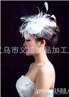 Wholesale High Quality White Lace Appliuqes Bead Feather Bridal Hats Bridal Hairs Hats Fashion Charming Wedding Accessories Events Hairs