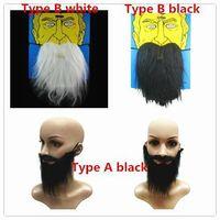 Wholesale New Halloween Masquerade Fake Eyebrow Mustache black white Beard Magic Self Adhesive Facial Hair Costume Ball Make Up Party supplies Dj19