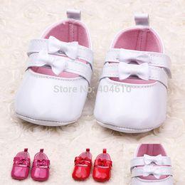 Wholesale New style Baby Shoes infant toddler bow prewalker hard sole PU First Walker ETJ X0214