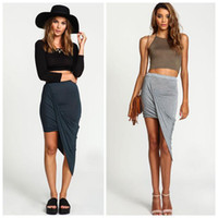 Wholesale Women Summer Skirt Fold Elastic Slim Wrap Jersey Asymmetrical Skirt Wild Fashion Sexy Elegant Mini Slim Skirts