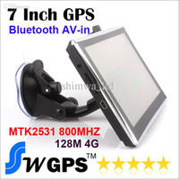 Wholesale 7 inch Car GPS Navigation Vehicle Navigator MTK2531 MHZ MB GB FMT MP3 Multilingual Win CE bluetooth AV in New Map Free