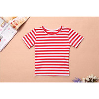 Wholesale Precious Striped Girls Shirts Short Sleeve Comfortable Kids Shirts for Little Girls Breathable Cotton Fabric Material Hot Sale FT002B