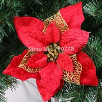 Wholesale 20CM colorsavailable Christmas tree decoration flower high quality Xmas flower decoration artificial poinsettia flower