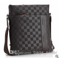 Wholesale Men Handbag Briefcase Brown Black Color Vertical Style Real Leather B2