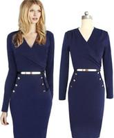 Wholesale 2014 New Office Lady Fashion Dresses Long Sleeve Belt V neck Button Empire Party Dresses Autumn Cotton Blue OL Pencil Work Dresses