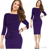 Wholesale 2014 New Women Fashion Dresses Long Sleeve Panelled Empire Party Dresses Autumn Cotton Purple Blue OL Pencil Work Dresses