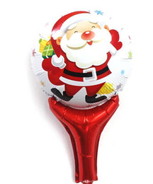 Wholesale 100pcs Santa Claus Christmas Series Pattern Cartoon Foil Balloon Hand hold Airballon Stage X Mas Party Props Child Toys wq019
