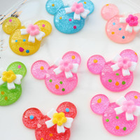 Wholesale 100pcs big Shiny mouse with bow flat back resins hair bow supplies cabochons scrapbooking mobile phone decor mm