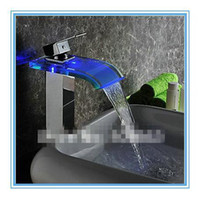 Wholesale 2014 Fashion Waterfall Bathroom Basin Sink Vanity Vessel Chrome Deck Mounted Mixer Tap Faucet Beautiful LED No Need Battery