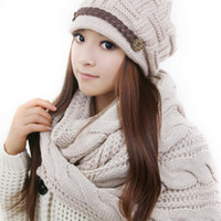Wholesale 2014 New Hot Sale Autumn and Winter Thermal Women s Hat Beige Scarf Set Kit Warm Knitted set