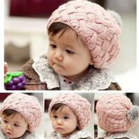 Wholesale Toddler Baby Winter Cap Solid Fashion New Style Girls Hats Children knitted Berets Kids Cute Caps