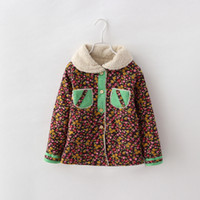 Wholesale Girls Fashion Floral Woolen Outerwear For New Winter Baby Single breasted Pocket And Button Style Children Clothing