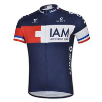 Wholesale Team IAM Cycling Jersey Colorfast Tops and Bib Padded Shorts New Arrival Mountain Road Wear Blue Bicycle Clothing Sets